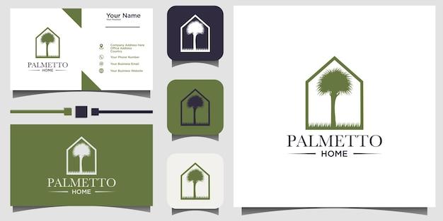 Palmetto en huis logo ontwerp vector met sjabloon achtergrond visitekaartje