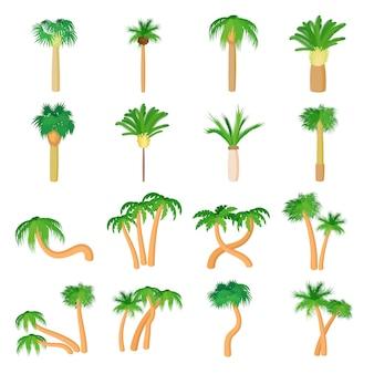 Palmpictogrammen die in de vector van de beeldverhaalstijl worden geplaatst