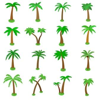Palmpictogrammen in isometrische die 3d stijl worden op wit wordt geïsoleerd geplaatst dat