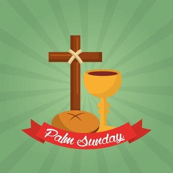 Palmzondag christelijke viering groene achtergrond