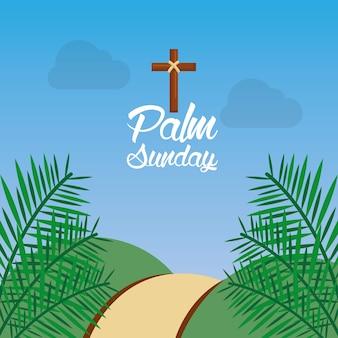 Palmzondag heuvel pad varenblad religieus