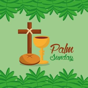 Palmzondag kruis brood tak grens groene achtergrond