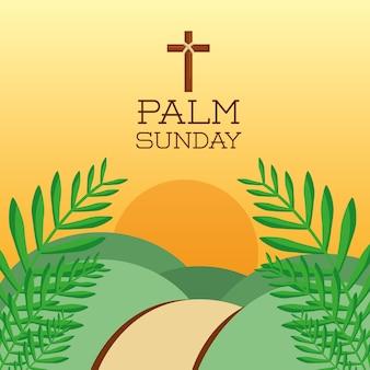 Palmzondag kruis heuvels zon tak kaart decoratie