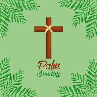 Palmzondagkruis en varenblad groene achtergrond
