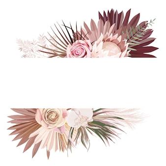 Pampagras, protea, orchideebloemen, droge palmbladeren grenssjabloon voor huwelijksceremonie. aquarel bloemen bruiloft vector frame. minimale uitnodigingskaart, decoratieve boho zomerbanner