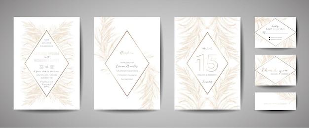 Pampas gras vintage bruiloft bewaar deze datum, uitnodiging bloemenkaarten collectie met goudfolie frame. vector trendy omslag, grafische poster, retro brochure, ontwerpsjabloon