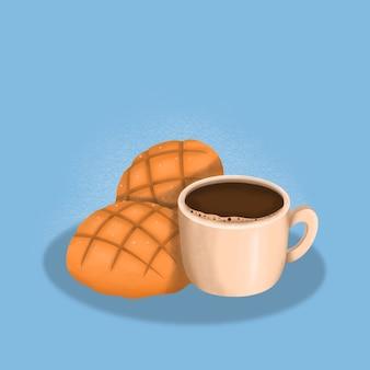 Pan & koffie, ontbijt illustratie