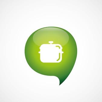 Pan pictogram groen denk zeepbel symbool logo, geïsoleerd op een witte achtergrond