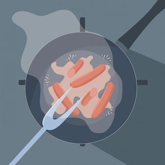 Pan van keuken met vork barbecue en worstjes