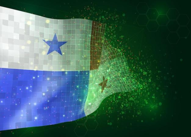 Panama, op vector 3d-vlag op groene achtergrond met veelhoeken en gegevensnummers