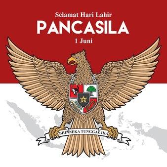 Pancasila-dagkaart met adelaar