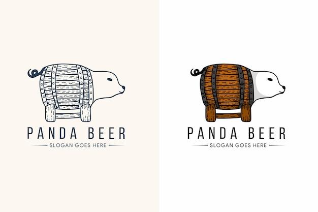 Panda bier logo sjabloonontwerp met lijnstijl en gewaagde kleur.