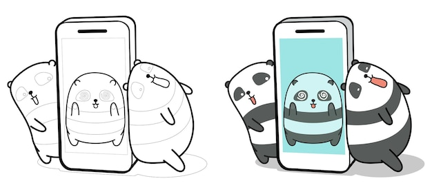 Panda binnen smartphone en vrienden cartoon kleurplaat voor kinderen