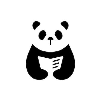 Panda boek lezen krant negatieve ruimte logo vector pictogram illustratie