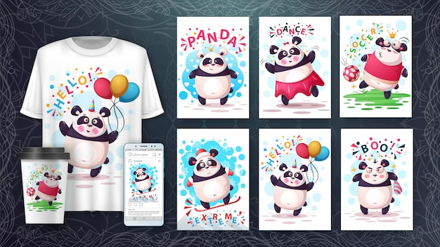 Panda cartoon dier illustratie kaartenset en merchandising.