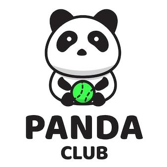Panda club schattig logo sjabloon