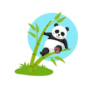 Panda die op de bamboe hangt