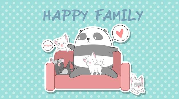 Panda en 4 katten in cartoon-stijl.
