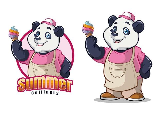 Panda en ijs karakter mascotte ontwerp