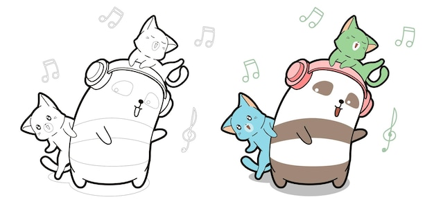 Panda en katten genieten van muziek cartoon kleurplaat voor kinderen