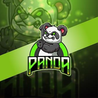 Panda esport mascotte logo