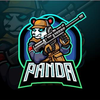 Panda esport mascotte ontwerp logo