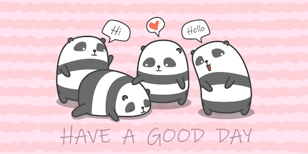 Panda familie in cartoon stijl.