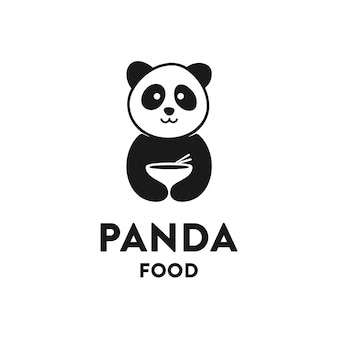 Panda food logo concept, moderne ontwerpsjabloon