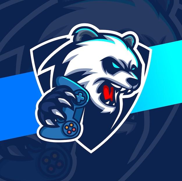 Panda gamer mascotte esport logo ontwerp karakter voor gaming
