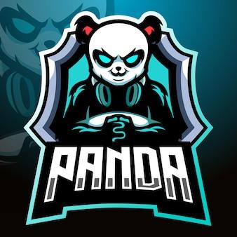 Panda gamer mascotte. esport logo ontwerp