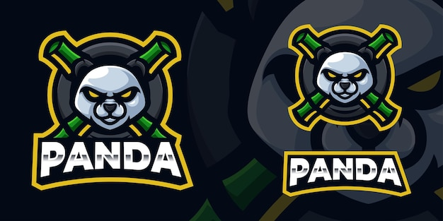 Panda gaming mascot logo-sjabloon voor esports streamer facebook youtube