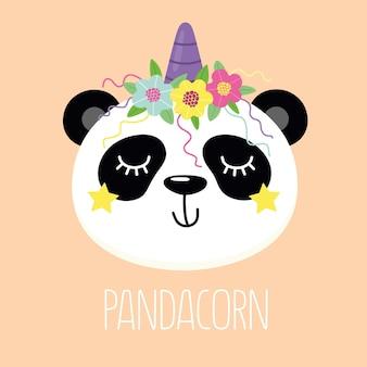 Panda gelukkige en vrolijke panda-eenhoorn met de illustratie van de woordpandacorn