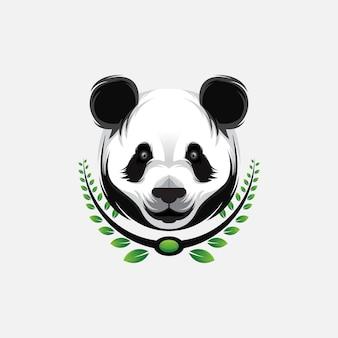 Panda hoofd esport logo ontwerp