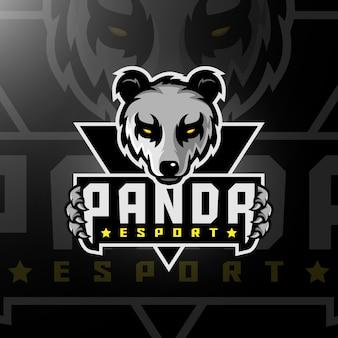 Panda hoofd gaming logo esport
