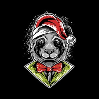 Panda hoofd kerst illustratie