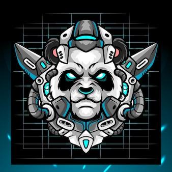 Panda hoofd robot mascotte esport logo ontwerp