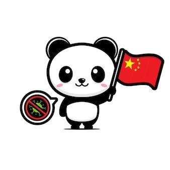 Panda houdt de chinese vlag tegen die coronavirus verbiedt