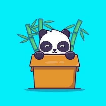 Panda in doos met bamboe cartoon afbeelding.