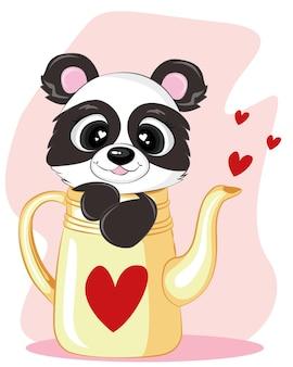 Panda in theepot, voor het ontwerp van de dag van de valentijnskaart.