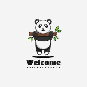 Panda karakter mascotte logo ontwerp vectorillustratie