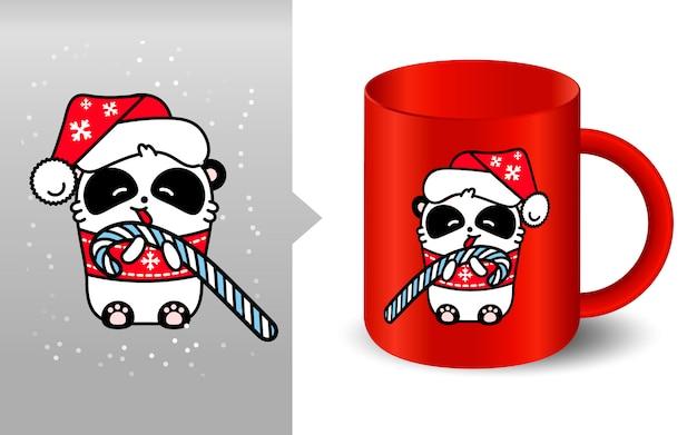Panda kawaii santa mockup cup
