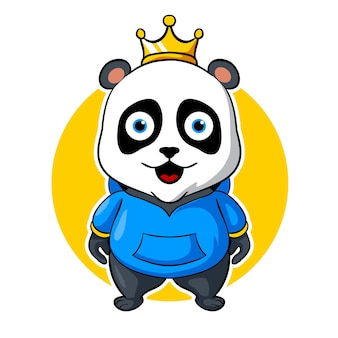 Panda koning, mascot esports logo vectorillustratie