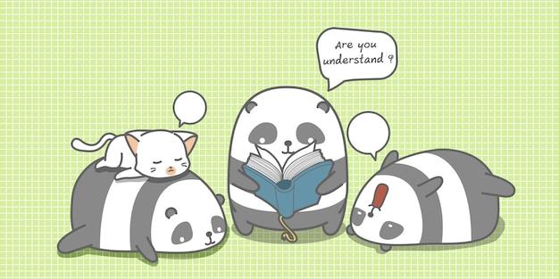 Panda leest een boek voor vrienden.