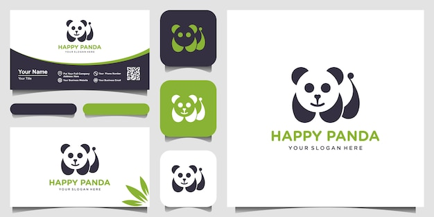 Panda logo illustratie. panda's hoofd. lachend dierlijk gezicht. bamboe beer chinese beer logo. carnaval symbool. schattige foto. en visitekaartje