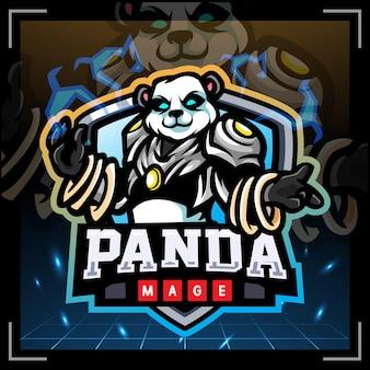 Panda magiër mascotte esport logo ontwerp