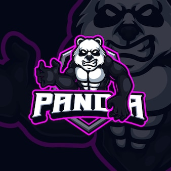 Panda mascotte esport gaming logo ontwerp Premium Vector