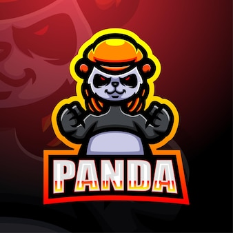 Panda mascotte esport logo ontwerp