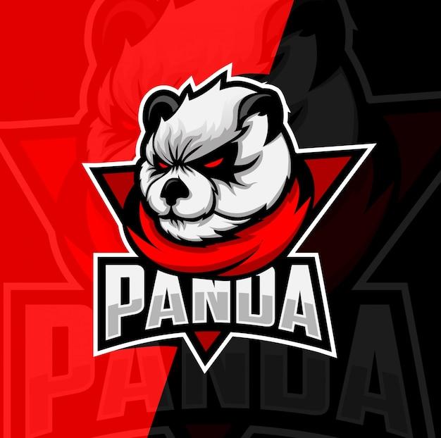 Panda mascotte esport logo