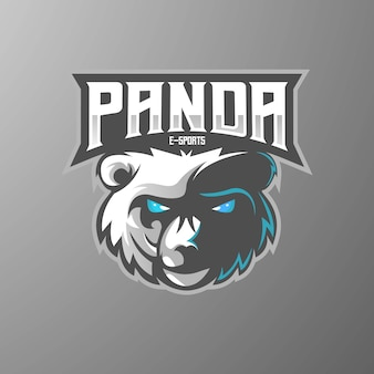 Panda mascotte logo ontwerp met moderne illustratie conceptstijl