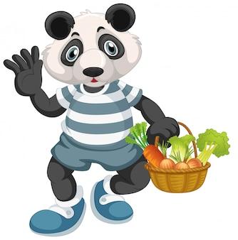 Panda met plantaardige mand